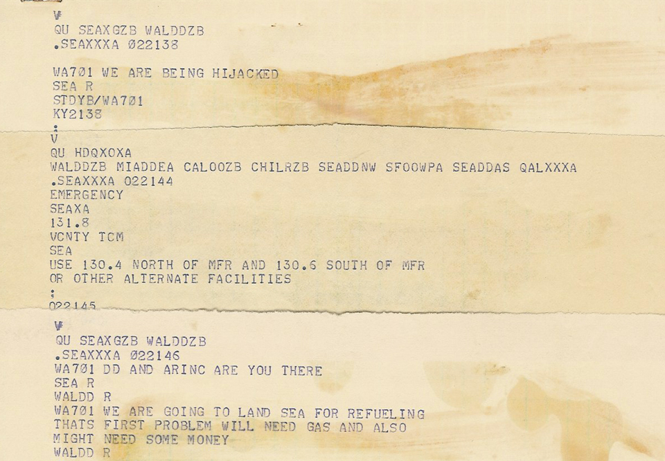 7. From the transcript of Flight 701's communications. (Private Collection of William Newell)