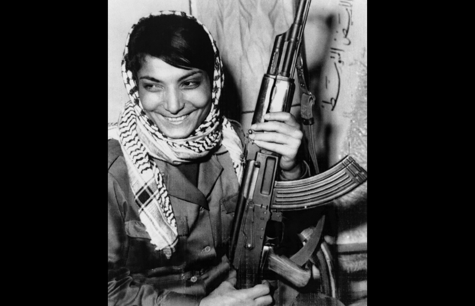 "18. Palestinian skyjacker Leila Khaled wore a ring fashioned from a shell casing on her left hand; she said it symbolized that she was ""engaged to the revolution."" (Bettman/Corbis/AP Images)"